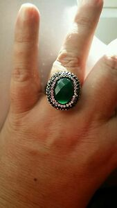 Qvc-STEEL-by-DESIGN-Sz-10-GREEN-QUARTZ-white-amp-gray-crystal-039-s-Ring-74-99-NWT