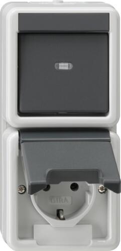 GIRA Aufputz System IP 44 Grau Wechselschalter+Steckdose Kombi senkrecht 017630