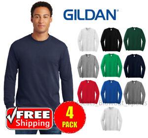 79d5c190 4 PACK Gildan Heavy Cotton Long Sleeve T Shirt Mens Blank Casual ...