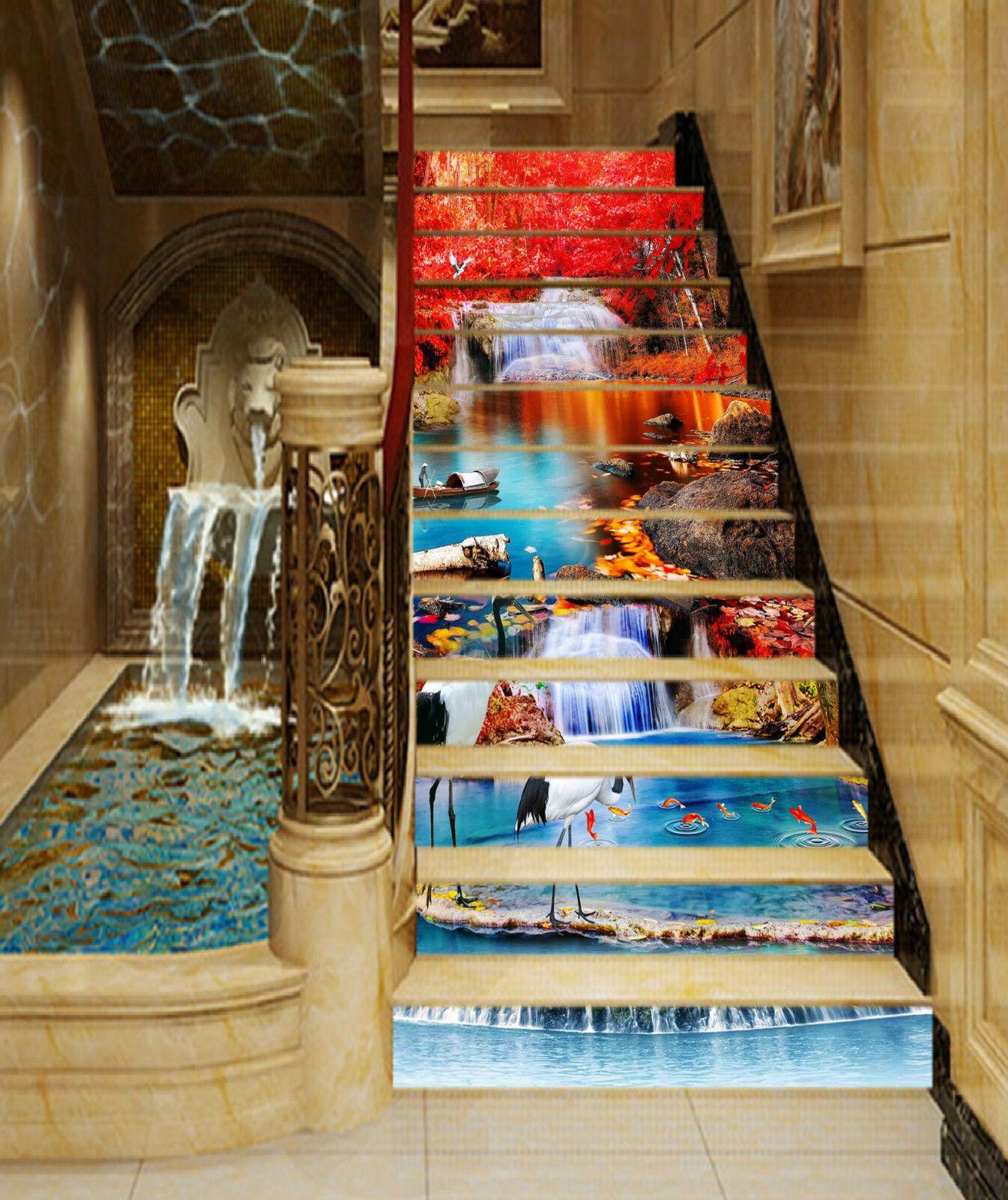 3D Wald Teich 855 Stair Risers Dekoration Fototapete Vinyl Aufkleber Tapete DE