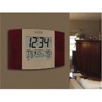 Cherry Panel Wall Clock Digital Atomic Temp Weather Alarm Time Day Date Bed Room