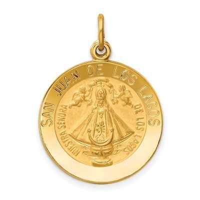 14K Yellow Gold Our Lady of San Juan De Los Lagos Religious Medal Pendant