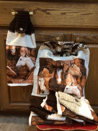 Horses Kitchen Hanging Hand Towel Crochet Handmade