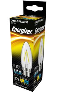 X 20 Energizer 2.4w = 25w) LED Transparente Filamento Vela,blancoo Extra Cálido