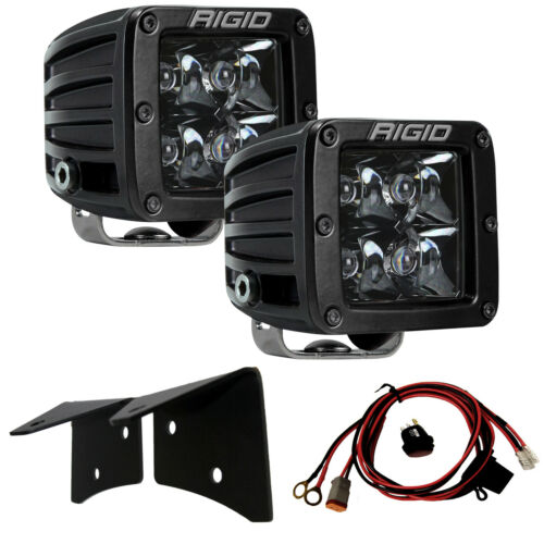 RIGID A-Pillar Mount Kit /& Midnight Black LED Lights for 07-18 Jeep Wrangler JK