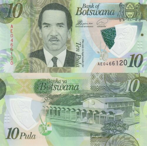 2018 Botswana 10 Pula President//Nat/'l Assembly//Polymer//pNew UNC