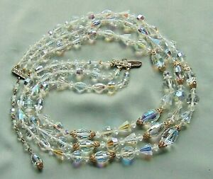 Vintage-50-039-s-Made-with-Swarovski-AB-Crystal-Bead-3-Graduated-Strand-Necklace