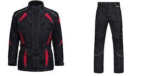 MOTO-STATION-WAGON-2-Pezzi-Giacca-Pantaloni-con-Cordura-tessile-combinata-M-fino-a-4xl-Nero-Rosso-6