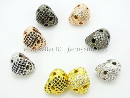 Zircon Gemstones Pave Four Holes Ghost Skull Bracelet Connector Charm Beads