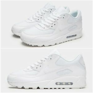 Details about Mens Trainers Nike Air Max 90 Leather & Textile Triple All  White Sneakers Shoes