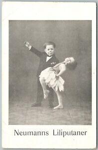 MIDGETS-DANCING-NEUMANN-039-S-LILIPUTANER-GERMAN-ANTIQUE-POSTCARD
