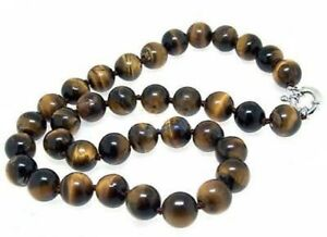Genuine-Natural-8mm-Yellow-Tiger-039-s-Eye-Gemstone-Beads-Round-Necklace-18-039-039-AAA