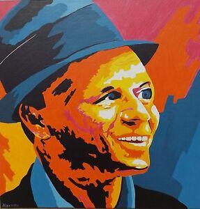 """"""" Frank Sinatra Popup Portrait """" Acrylique / Lwd. Signer Dat. Alex 09/06 Cool En éTé Et Chaud En Hiver"""