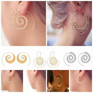 Vintage-Womens-Lady-Circles-Round-Spiral-Brass-Tribal-Hoop-Earrings-Jewelry