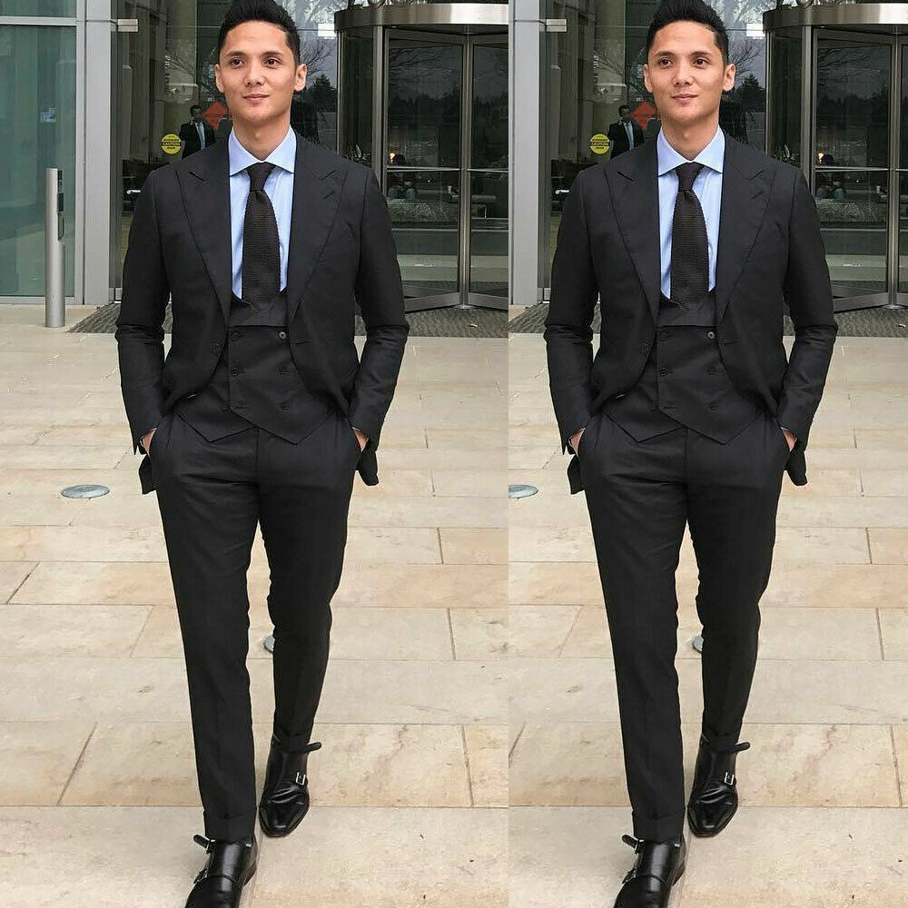 Men's Black Wide Lapel Formal Party Suits Slim Fit Groomsman Wedding Tuxedos
