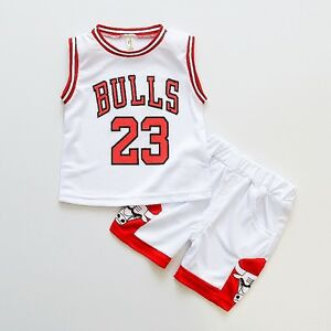 3229b5672e772f HOT Kids Baby Boys Girls  23 Michael Jordan Bulls Basketball Jerseys Short  Suit