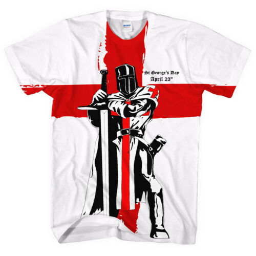 St Georges chevalier jour England drapeau entier hommes avril T-SHIRT blanc L42 Party