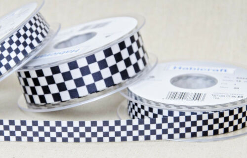 Black /& White Chequered Flag Ribbon 15mm or 25mm 2m Piece or 20m Reel