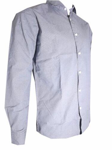 camicia da uomo a fantasia blu guy in cotone manica lunga casual M L XL XXL XXXL