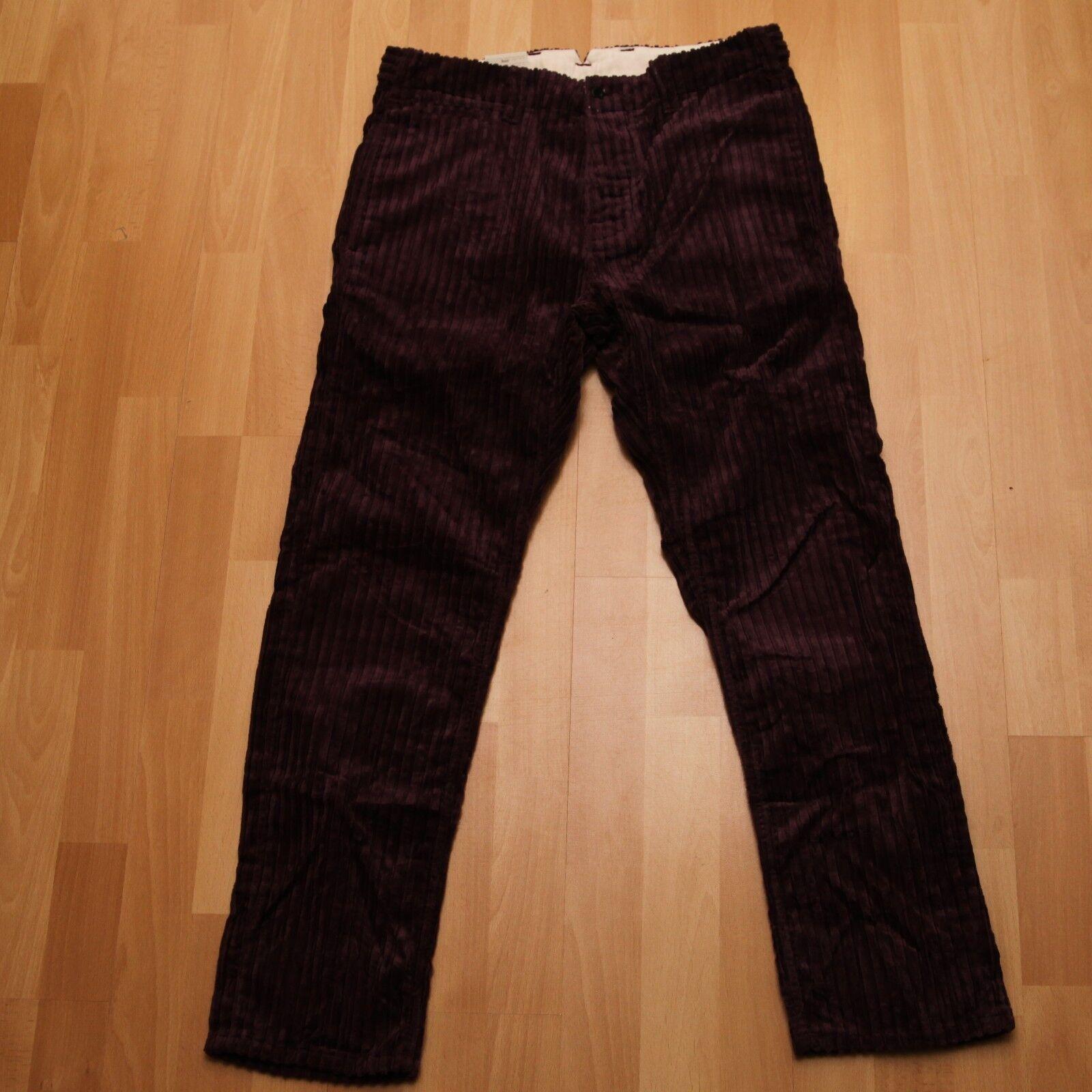 NUOVO Nudie Jeans, regular Anton (Regular Straight Leg) wide Plum Cord 32 30