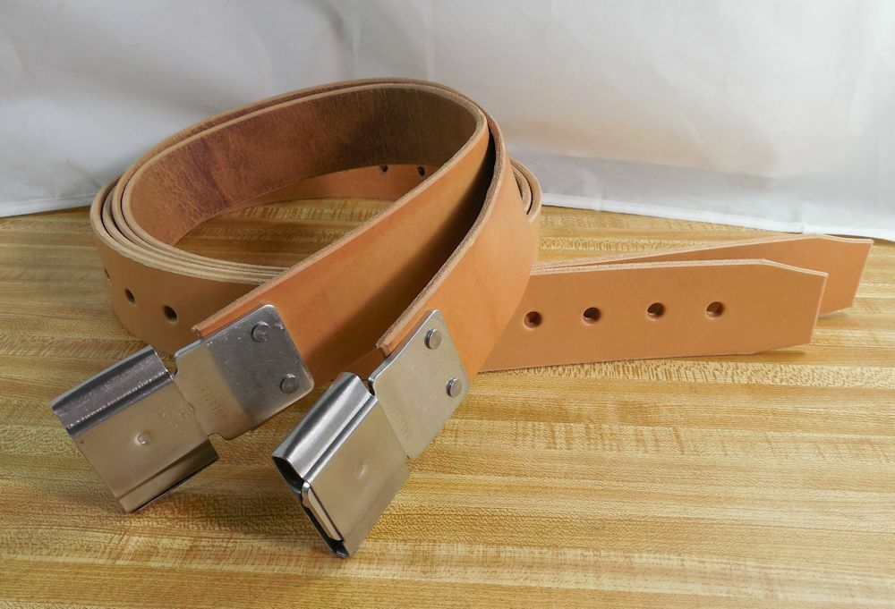 USA Hefatto Light Oil NATURAL Full Grain Leather 2 STIRRUP STRAPS with BUCKLES