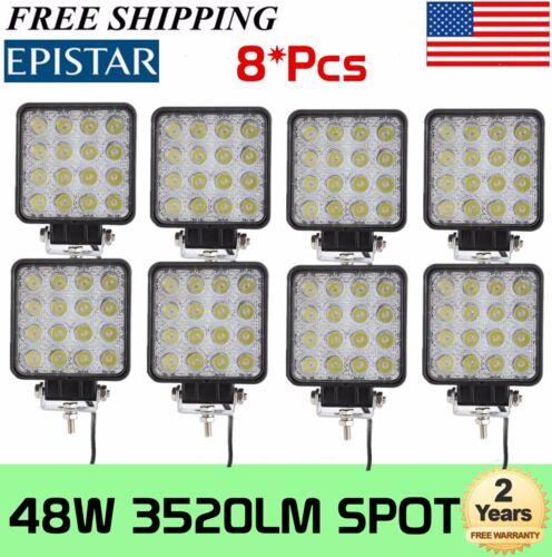 8X 48W Square LED Work Light Spot Beam Driving Fog SUV UTE Boat Offroad 12V 24V