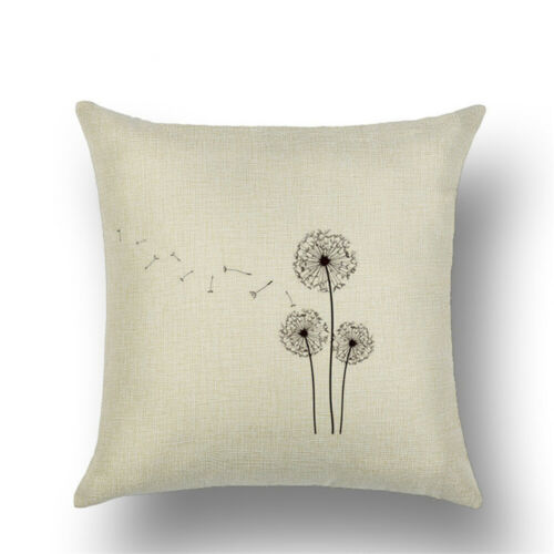 Dandelion Print Square Home Decorative Pillow Case Sofa Waist Cushion Cover