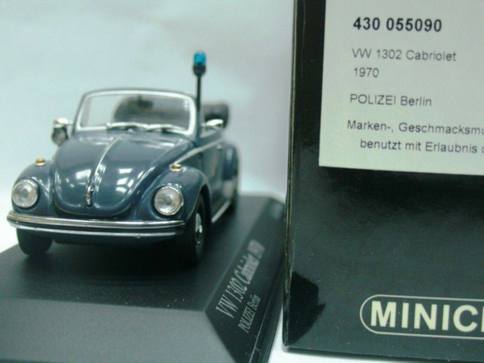Wow extrêmement rare VW Beetle Käfer 1302 cabriolet 1970 Polizei 1 43 Minichamps