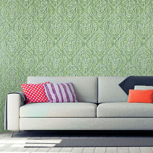 Wallpaper-green-Textured-wall-coverings-roll-vintage-Victorian-diamond-damask-3D