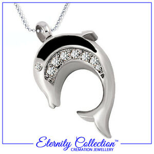 NEW! ECN24 Eternity Collection Cremation Jewellery 'Sparkling Dolphin' Necklace