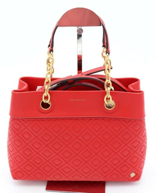 92e9e6a8a46 NWT Tory Burch Fleming Red Leather Small Tote Satchel Shoulder Bag 46164  $498