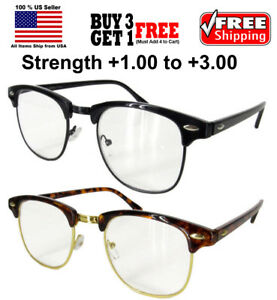 20c46a17a8 Image is loading Vintage-Horned-Rim-Half-Frame-Semi-Rimless-Clear-