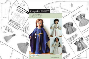 "Doll Clothes Sewing Pattern for Medieval Dress Fit 18"" American Girl & Carpatina"