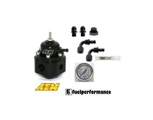AEM Universal Adjustable Fuel Pressure Regulator &DIY AN Fittings KIT #25-302BK