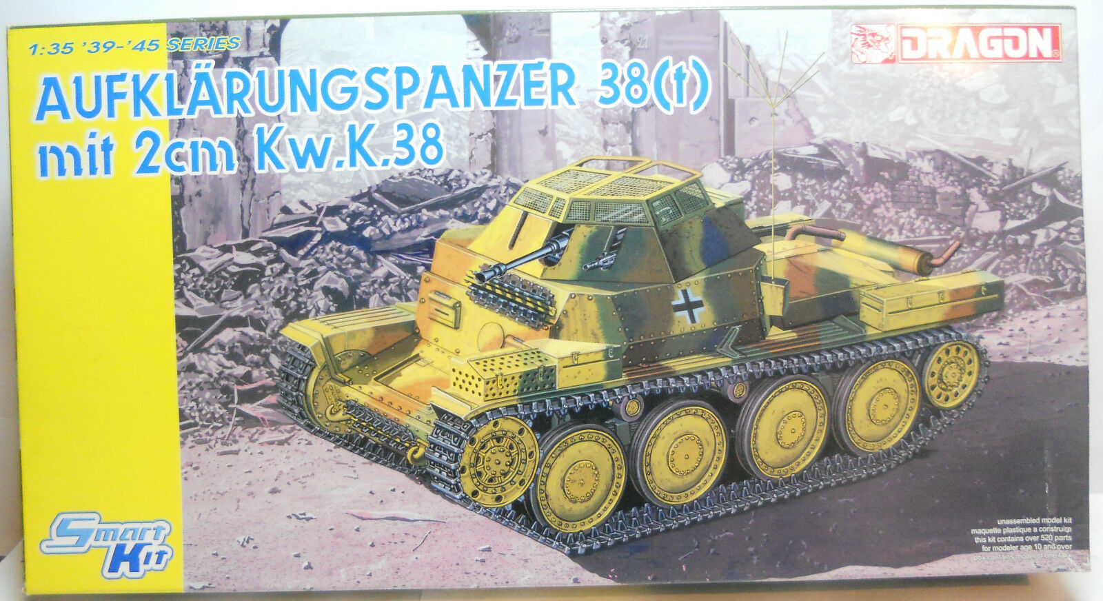 Dragon 1 35 Scale Plastic Kit German Aufklarungspanzer 38t mit 2cm KWK38 Tank