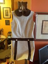 VINTAGE 60s 70s SLEEVELESS white & brown KNIT MOD DRESS boho BRADY emo HIPSTER