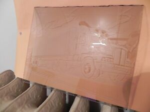 Details about Hand Crafted Tractor Trailer (18-Wheeler) Etched Glass