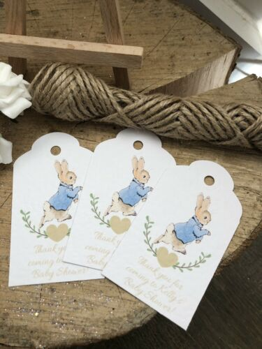 Pack Of 10 Personalised Peter Rabbit Thank You Baby Shower Tags