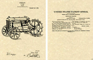 Vintage Ford Tractor US PATENT Art Print READY TO FRAME 1919 Henry Farm