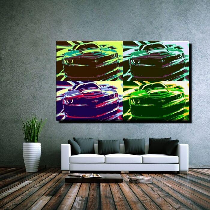 LEINWAND BILD ER  XXL POP Kunst CHEVROLET CAMARO MUSCLE CAR ANDY WARHOL - 150x90