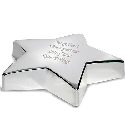 Personalised Silver Finished Star Paperweight, Desk Tidy-Engraved Free-Christmas