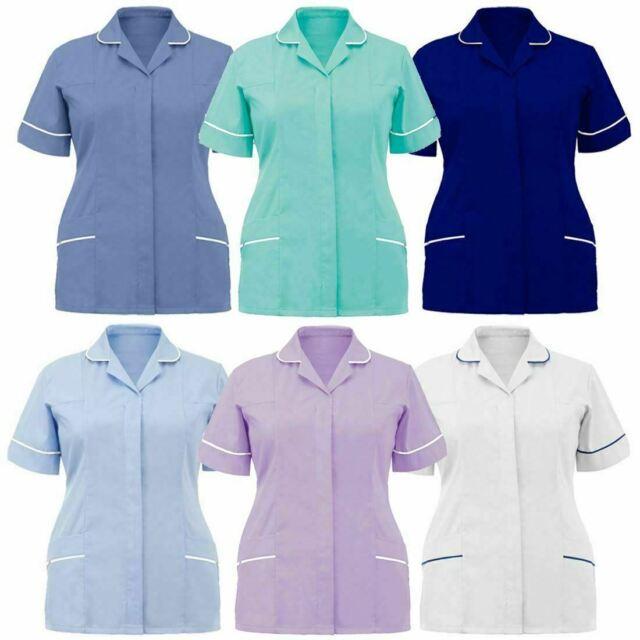 WOMANS SIZE L BLUE NURSES SCRUB TOP CARER TUNIC HOSPITALITY UNIFORM WORK WEAR
