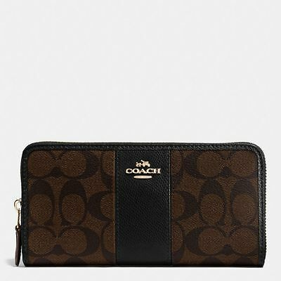 New Coach F54630 F54007 Accordion Zip Wallet In PVC Crossgrain Leather Gift Box