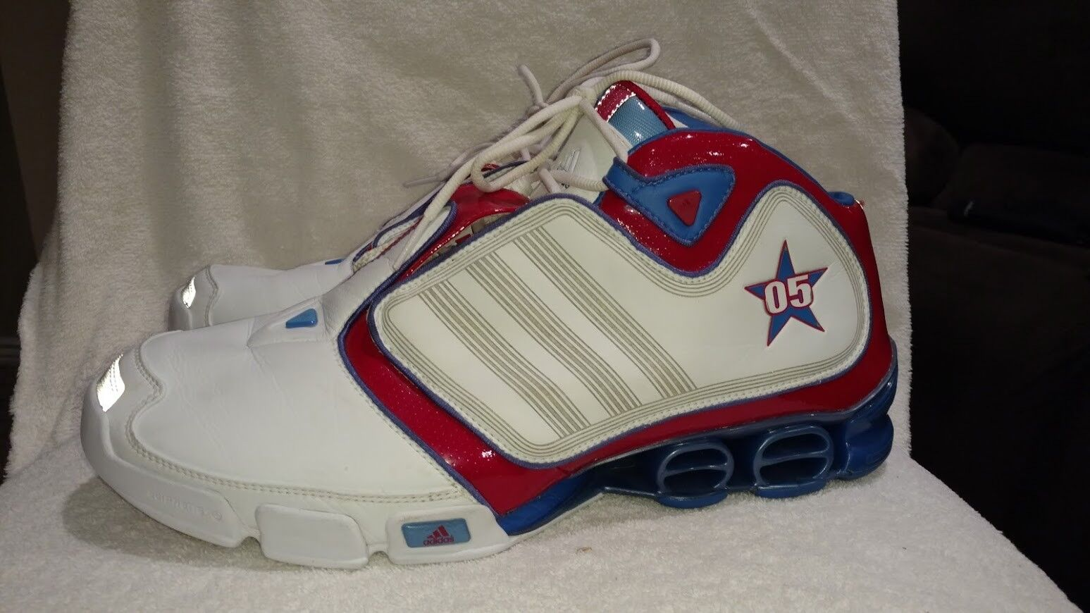 Vintage Rare Adidas High Top Leather Basketball Sneakers shoes Size 15