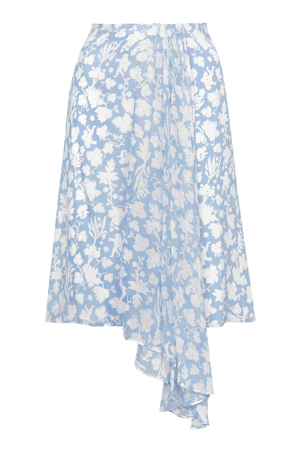 TOPSHOP Belfour Wedgwood Print Silk Skirt By Unique - bluee - UK12 EU40 RRP