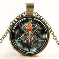 Inverted Pentagram Goat Head Baphomet Punk Gothic Satan Necklace LaVeyan Occult