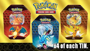 Pokemon-Hidden-Fates-Tin-Sealed-Case-4-of-Each-Charizard-GX-Gyarados-Raichu-Tin