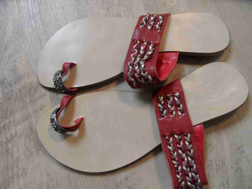 COLLCI Ring stylische Zehensandalette rot m. Ring COLLCI Gr. 38 NEUw. ZC1116 49616f