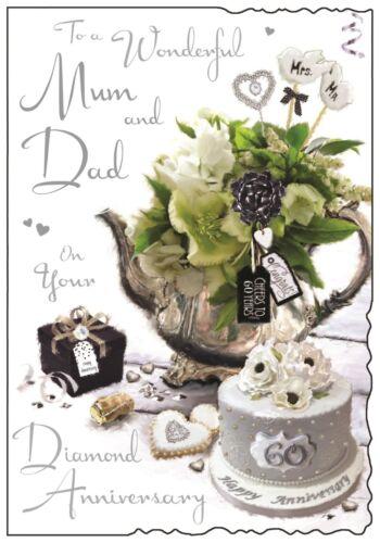 Mum And Dad 60th Diamond Wedding Anniversary Card ~ Luxury Card ~ Made In UK