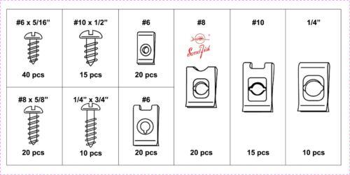 Swordfish 31390-170pc Screw and Speed Nut U Nut U Clip Assortment